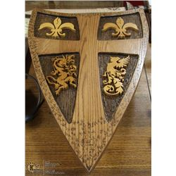 WOODEN SHIELD SWORD WITH WALL HANGER DISPLAY