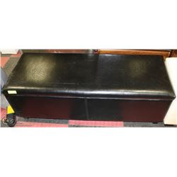 LEATHERETTE STORAGE OTTOMAN ON CHOICE: BLACK