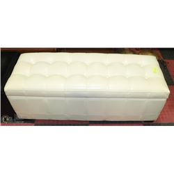 LEATHERETTE STORAGE OTTOMAN ON CHOICE: BEIGE