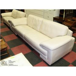 "ESTATE BEIGE LEATHER 93"" SOFA WITH 75""LOVE SEAT"
