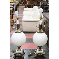 PAIR OF WHITE GLOBE TABLE LAMPS WITH MARBLE BASE