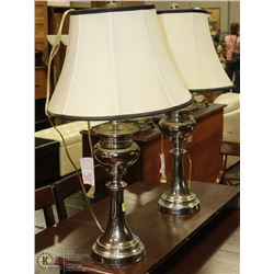 PAIR OF CHROME TABLE LAMPS