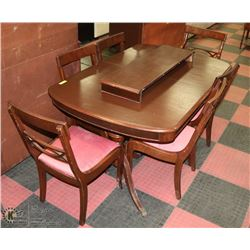 CLAWFOOT DININGROOM TABLE WITH 6 CHAIRS AND LEAF