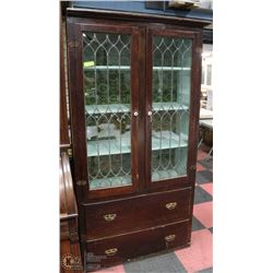 1800S LEADED GLASS PIE SAFE CABINET.