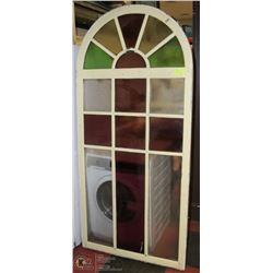 ANTIQUE CATHEDRAL STAINED GLASS WINDOW 3FTX6.5FT