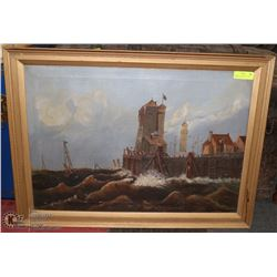 ANTIQUE OIL ON CANVAS NAVEL SCENE, 33 X 25, HAS