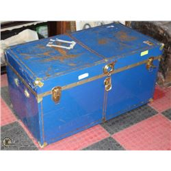 LARGE VINTAGE METAL BLUE TRUNK