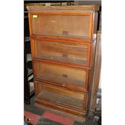 "ANTIQUE FOUR TIER LAWYERS BOOKCASE 62""X34""X11"""