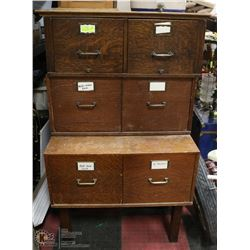 "ANTIQUE OAK 6 DRAWER FILING CABINET 33""X26""X62"""