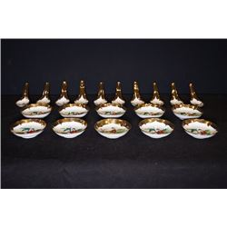 "Early 20th century, gold plating ""Figures"" 10 for small dishes and 10 for spoon u o"