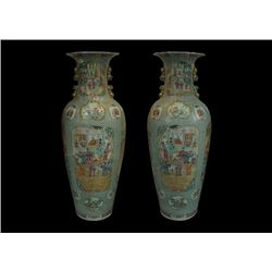 "A Pair of Two Extremely Large Early 20th Century China Famille-Rose ""Figures"" Vases (Guanyinping)"