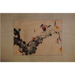 "A Chinese Ink Painting ""Floral and Birds"" by Qingyuntang"