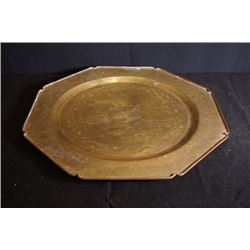 "A Large Early 20th Century Carved ""Figures"" Octagonal Bronze Plate"