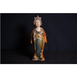"A Sancai ""Lady"" Pottery Figurine"