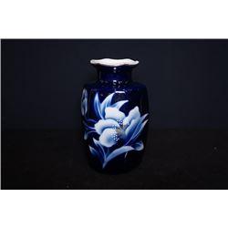 """Blue-Glazed """"Foral"""" Ceremic Vase Decoration wih mark"""