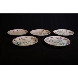 "Republican Era, a set of five Famille-Rose ""Floral"" plates."