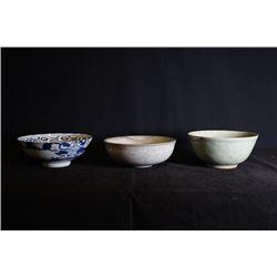 """One """"Ci Ye Gong Si"""" Mark """"Landscape"""" Large Bowl, One Celadon-Glazed Large Bowl and One Gracked-Glaze"""