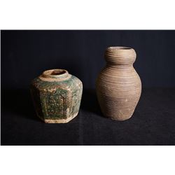 "One ""Flora"" Hexagon Pottery Jar and One Pottery Jar in Screw Thread Shape."