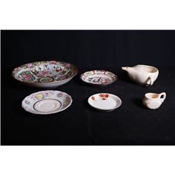1 Large & 1 small Guangcai Gilt-Decorated Plate, 2 Small Dishes, 1 Serving Cup and 1 Small Milk Pott