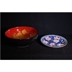 A Large Japanese Style Ceremic Plate. A blusher Gilt-Decorated wash basin.