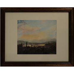 """A Watercolor """"Xi Yang Xia De Dan Shui Hu"""""""