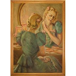 "An oil painting ""Blonde looks in the mirror"""