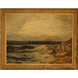 "An oil painting ""Sea Wave"" with mark"