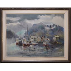 "An oil painting ""Fisherman's Wharf"""