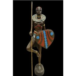 An Africa lady bronze statue