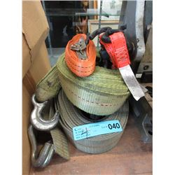 Large Truck Strap & Tow Rope & 2 Ratchet Tie Downs