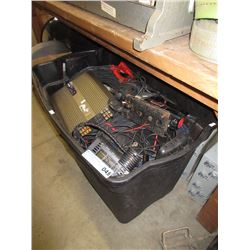 Large Tote of Tools, Auto Amp, Wire & More