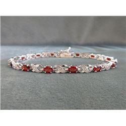 Certified Ladies Garnet & Diamond Tennis Bracelet