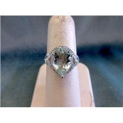 Certified Green Amethyst & Diamond Ring
