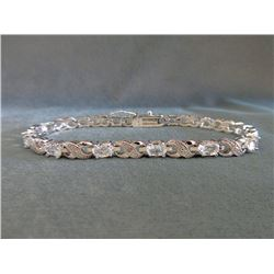 Certified White Topaz & Diamond Tennis Bracelet