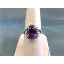 Certified Amethyst & Diamond Ring