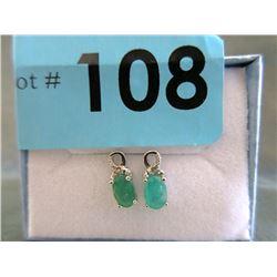 Certified New Emerald & Diamond Earrings