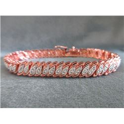 Sterling Silver & Rose Gold Clad Diamond Bracelet