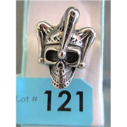 Men's Large Heavy Skull/Joker Hat Biker Ring