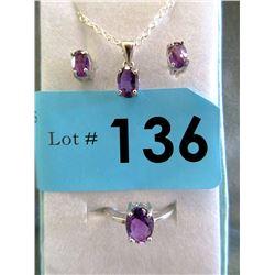 New 3-Piece Amethyst Jewelry Set