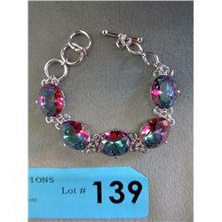 50 CT+ Mystic Topaz Toggle Bracelet