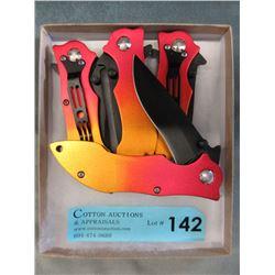 "4 New Stainless Steel 8"" Knives - Clip On Belt"