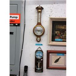 Vintage Barometer & Thermometer