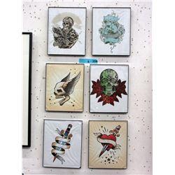 6 Framed Tattoo Art Prints