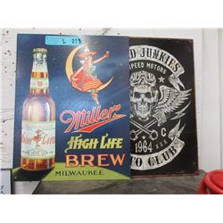 2 New Tin Signs with Vintage Images