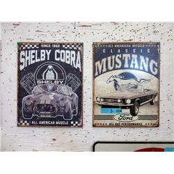 Pair of New Tin Signs with Vintage Car Images
