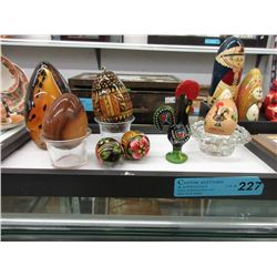 Glass, Ceramic & Wood Egg Collectibles