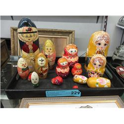 Assortment of Wood Nesting Dolls