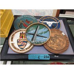 """5 Assorted Replica Ship Plaques - 6"""" Diameter"""