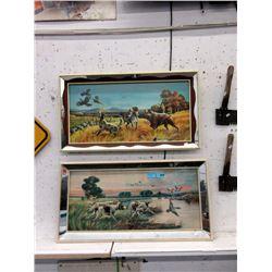 Pair of Vintage Mirror Framed Hunting Prints