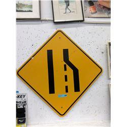 """Metal """"Merge"""" Road Sign"""